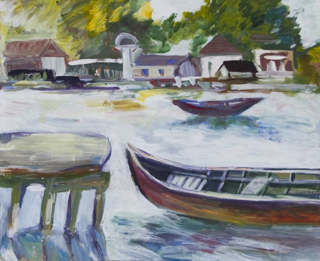 Landscape with boats, houses and trees painted in acrylics Stock Photo - 14234955