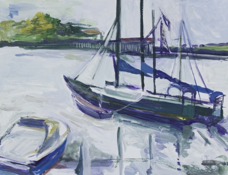 Landscape with boats painted in acrylics Stock Photo - 14234898