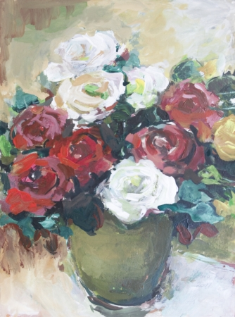 mixed flower bouquet: Roses painted in acrylics  Fresh roses in a vase on the table