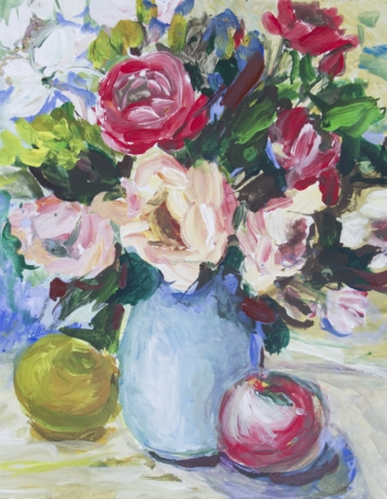 Roses painted in acrylics  Fresh roses in a vase and apples on the table Stock Photo - 14234897