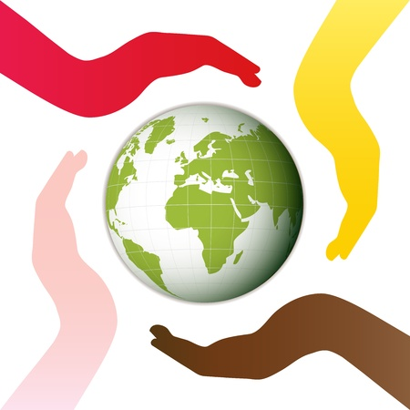 wereldbol groen: Aarde, omgeven door vier handen Witte achtergrond Stock Illustratie