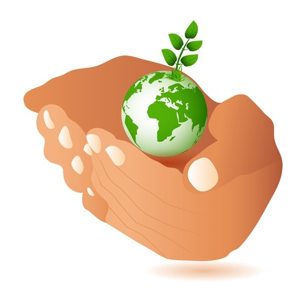 humankind: Hands and Earth  Symbol of environmental protection  Illustration