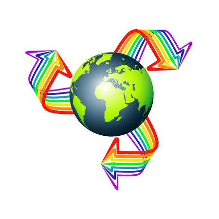 Earth with three multicolored arrows stripes isolated on white  Vector