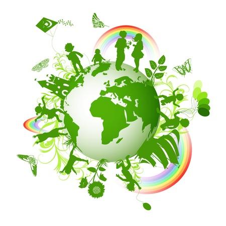 planeta verde: Entorno ecol�gico con los ni�os y el globo Vectores