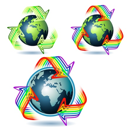 international recycle symbol: Recycling arrows and three planet Earth  Illustration