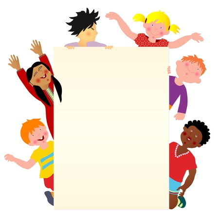 Six multicultural children with blank banner