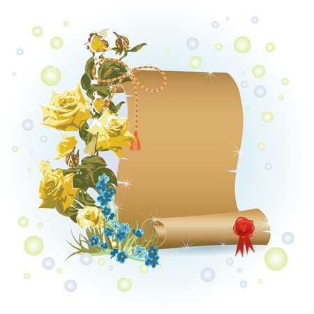 Papyrus and branch with flowers over light background  Vector