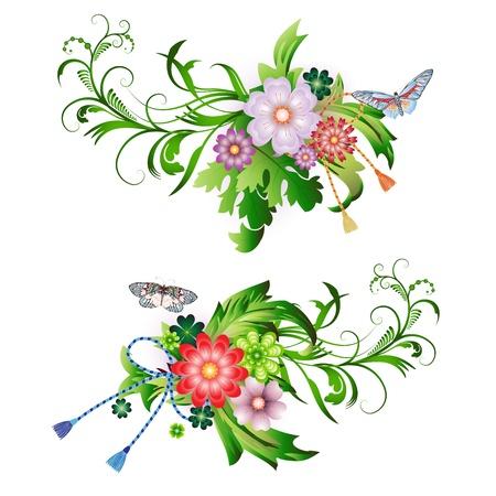 Bloemen arrangement en vlinders