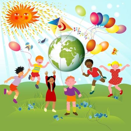 Los niños de diferentes razas y el planeta; alegre ilustración con el planeta tierra