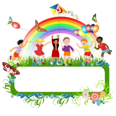 Multiracial kids playing and a banner for message  Vector