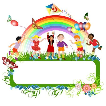 arcoiris caricatura: Niños multirraciales que juegan y una bandera para el mensaje