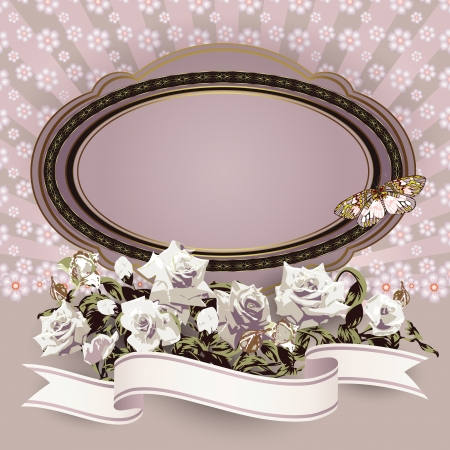 Frame with white roses and ribbon Stock Vector - 14234948