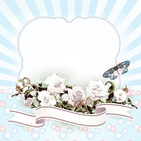 Frame with white roses and ribbon  Vector