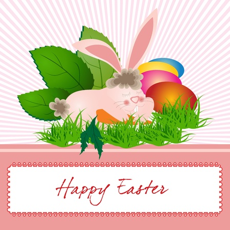 Easter card with bunny and colored eggs  Vector