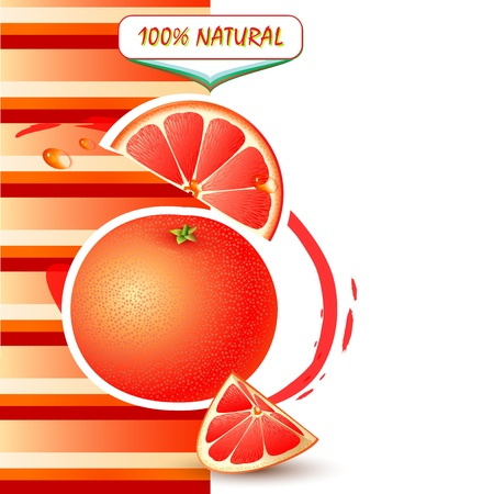 Background with fresh grapefruit and grapefruit slices Vector