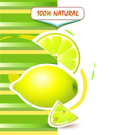 Background with fresh lemon and lemon slices Vector