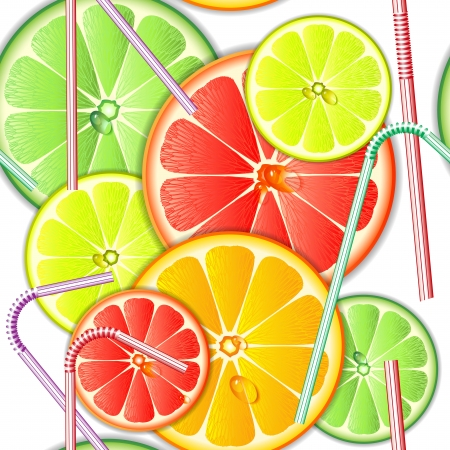 Colorful seamless pattern citrus fruit and straws Vector