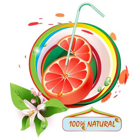 toronja: Las rebanadas de toronja con flores, hojas y gotas Vectores