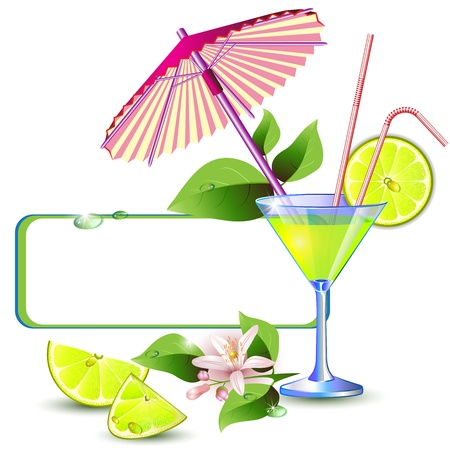 Exotic banner with juicy slices of lemon fruit, flowers and umbrella Vettoriali