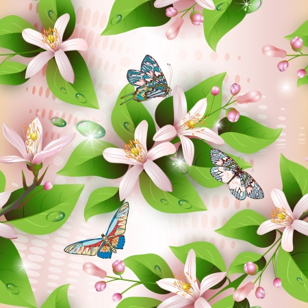 Elegance seamless flowers pattern on pink background and butterflies Stock Vector - 14436158