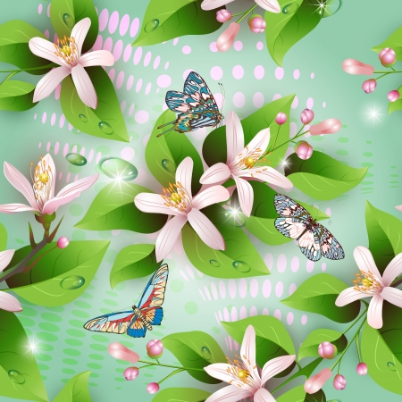 Elegance seamless flowers pattern on blue background and butterflies