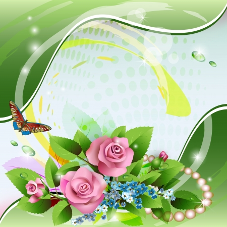 Beautiful background with pink roses, drops and pearls Vector