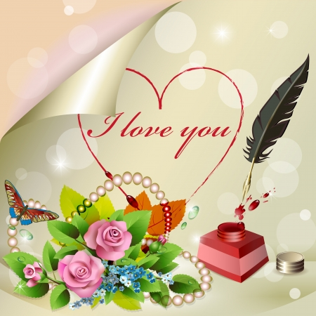 amour:  I love you  is writting on paper with feather Illustration