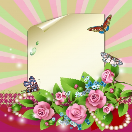 Sheet of paper, pink roses, cornflowers and butterflies Vector