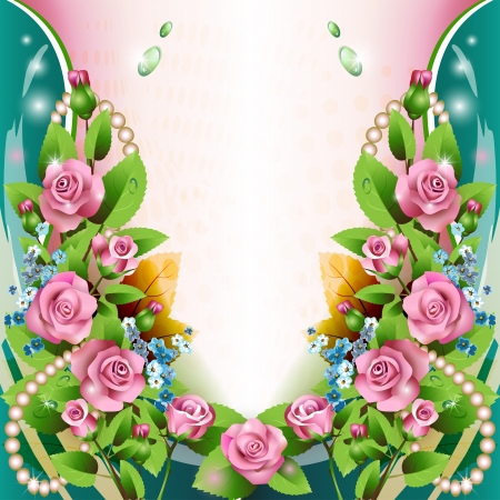 Beautiful background with pink roses and drops Vector