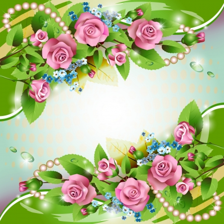 rose garden: Beautiful background with pink roses and drops