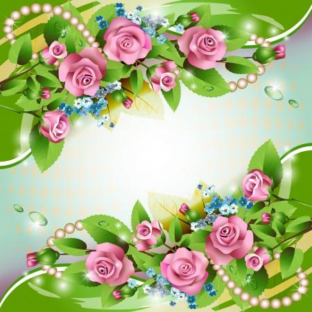 Hermoso fondo con rosas de color rosa y gotas