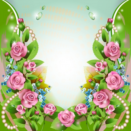 rose frame: Beautiful background with pink roses and drops