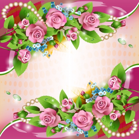 Beautiful background with pink roses and drops