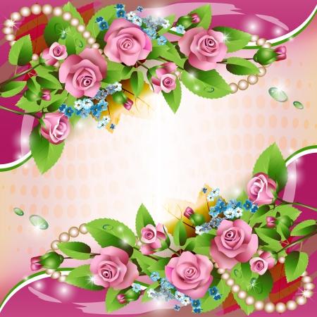 flores de cumplea�os: Hermoso fondo con las rosas rosadas y las gotas