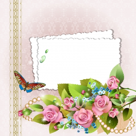 floral border frame: Frame with pink roses and pearls on romantic background