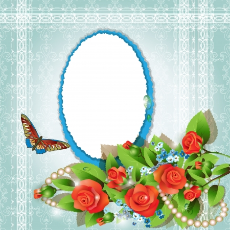 Frame with red roses, cornflowers and pearls on romantic background