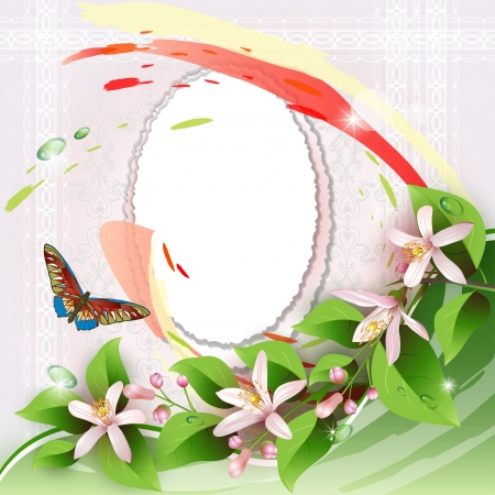 Frame with beautiful flowers on romantic background Vector