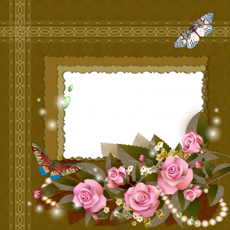 Frame with beautiful pink roses on romantic background Vector