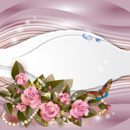 Elegant background with beautiful pink roses and pearls