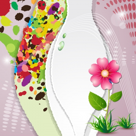 Cute card with pink flower and drops Vector