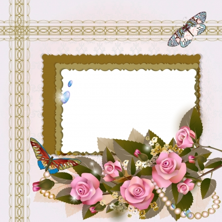 Frame with pink roses and pearls on romantic background Vector
