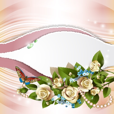 Elegant background with beautiful white roses and pearls Vector