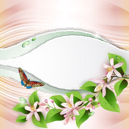 Elegant background with beautiful flowers and pearls Vector
