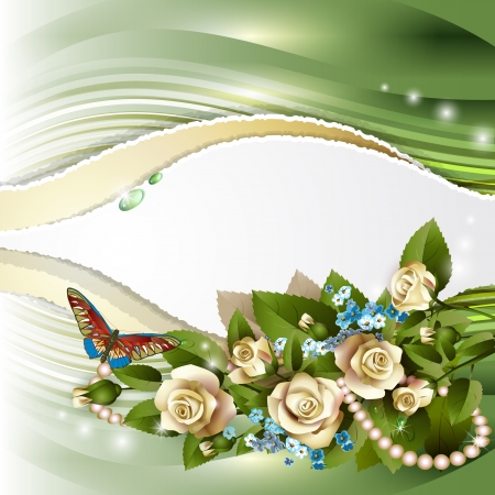 Elegant background with beautiful white roses and pearls
