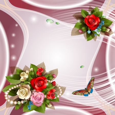 Elegant background with beautiful roses and pearls