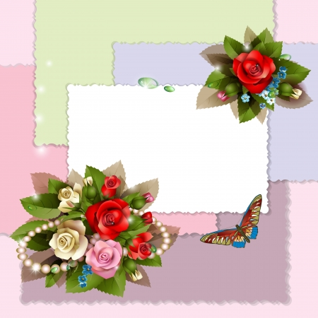 Frame with beautiful roses on romantic background Vector