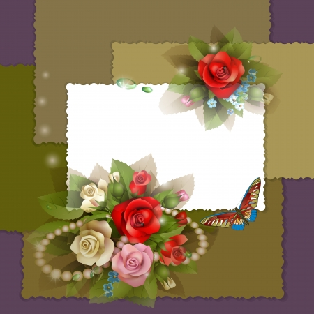 flower border pink: Frame with beautiful roses on elegant background