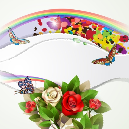 Elegant background with beautiful roses, rainbow, butterflies and drops Vector