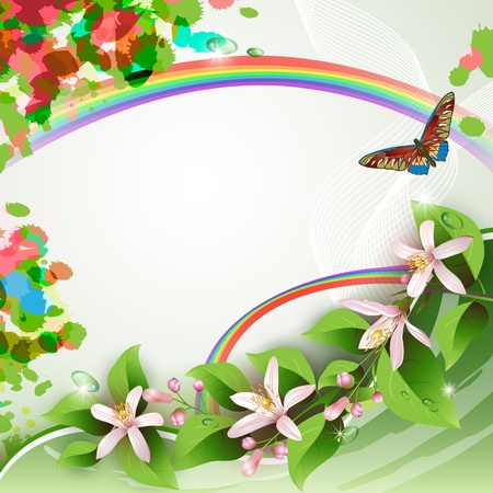 Elegant background with beautiful flowers, rainbow, butterfly and drops
