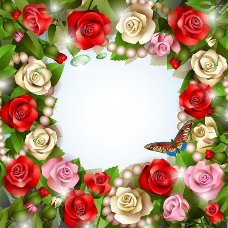 Hermoso fondo con las rosas, las perlas, las gotas y la mariposa